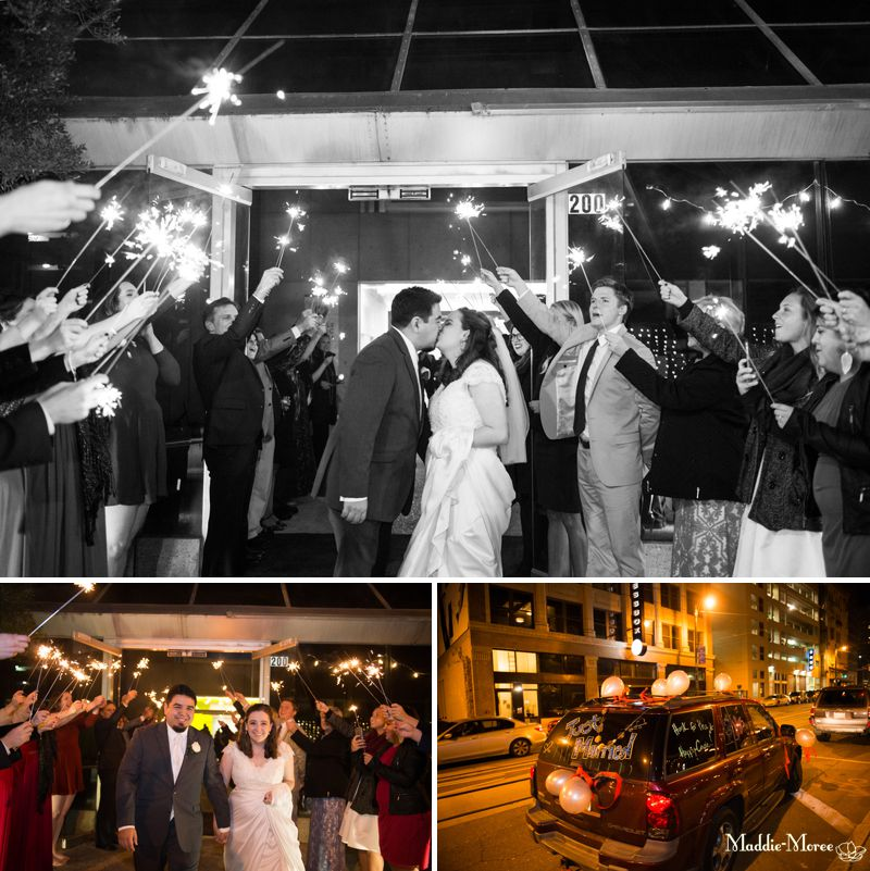 Downtown wedding sparkler