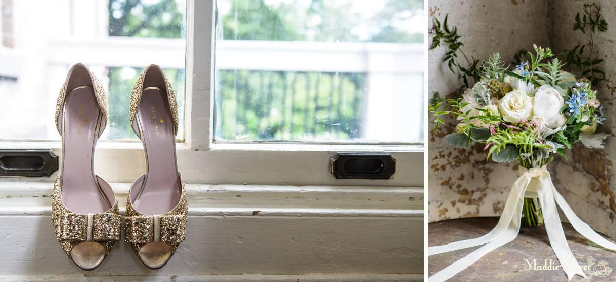 shoes and bridal bouquet