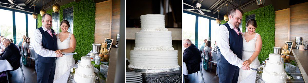 terrace reception mud island cake cut