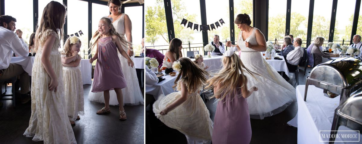 bride twirling reception