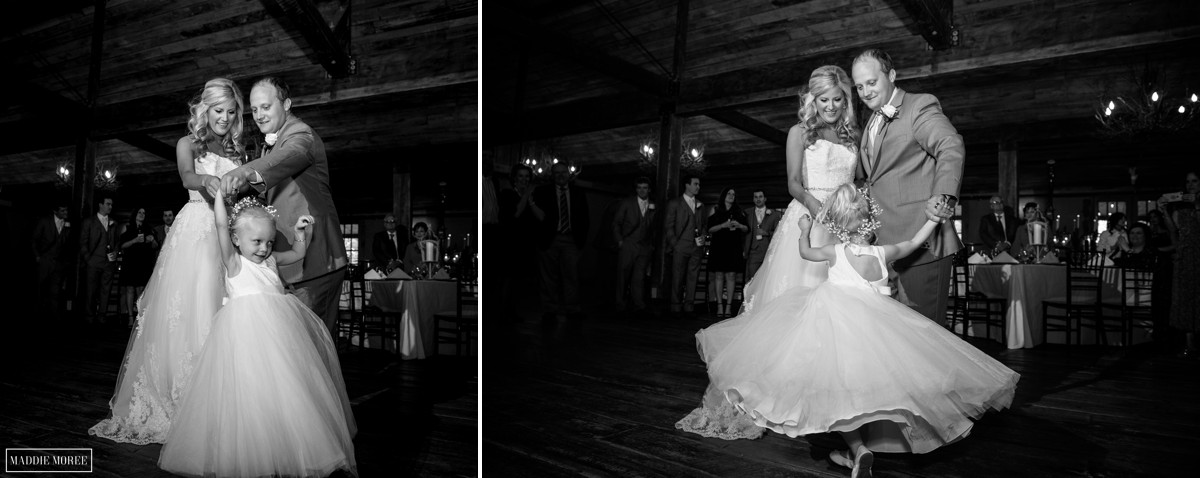 family dancing reception the barn