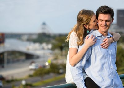 downtown river engagement shoot